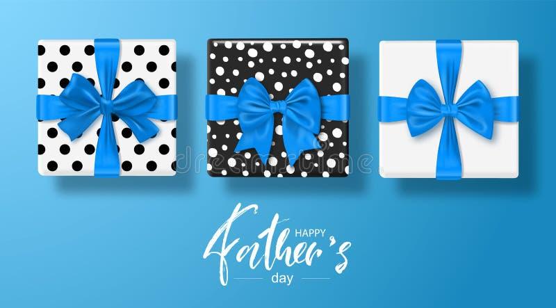 Szczęśliwy ojca s dnia kartka z pozdrowieniami z prezentów pudełkami ustawia z łękiem również zwrócić corel ilustracji wektora ilustracja wektor