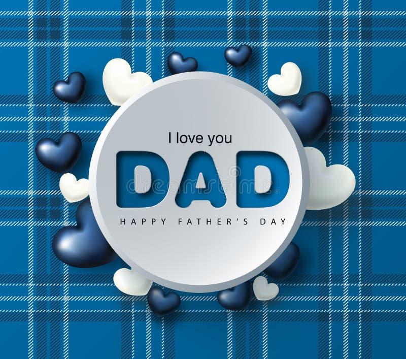 Szczęśliwy ojca ` s dnia kartka z pozdrowieniami z sercami również zwrócić corel ilustracji wektora ilustracji
