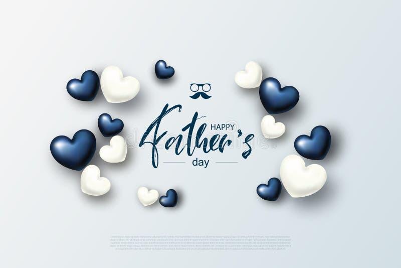 Szczęśliwy ojca ` s dnia kartka z pozdrowieniami z sercami również zwrócić corel ilustracji wektora ilustracja wektor