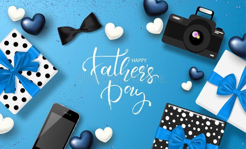 Szczęśliwy ojca ` s dnia sztandaru projekt z literowaniem, prezentów pudełkami, kamerą, telefonem, łęku krawatem i sercami, równi ilustracja wektor