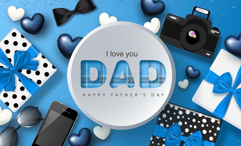 Szczęśliwy ojca ` s dnia sztandaru projekt z prezentów pudełkami, kamerą, telefonem, okularami przeciwsłonecznymi, łęku krawatem  ilustracji