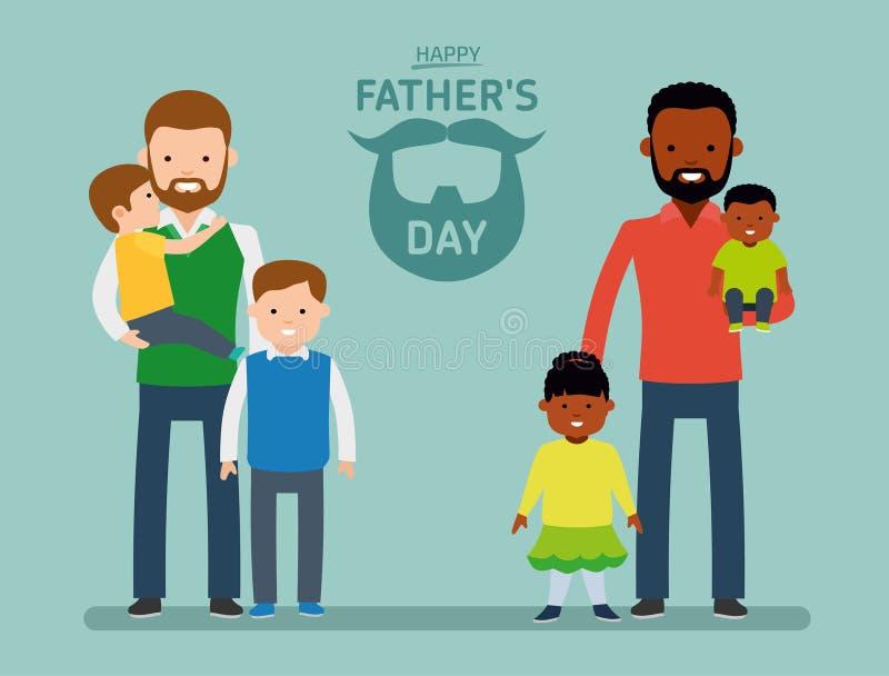 Szczęśliwy ojca ` s dzień Dwa szczęśliwy ojciec z dziećmi, pojedynczy tata europejczyk inny tata jest amerykaninem afrykańskiego  ilustracji