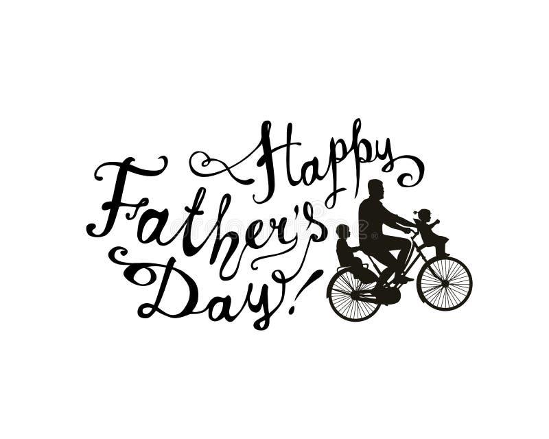 Szczęśliwy ojca ` s dzień! Rower z children i tata royalty ilustracja