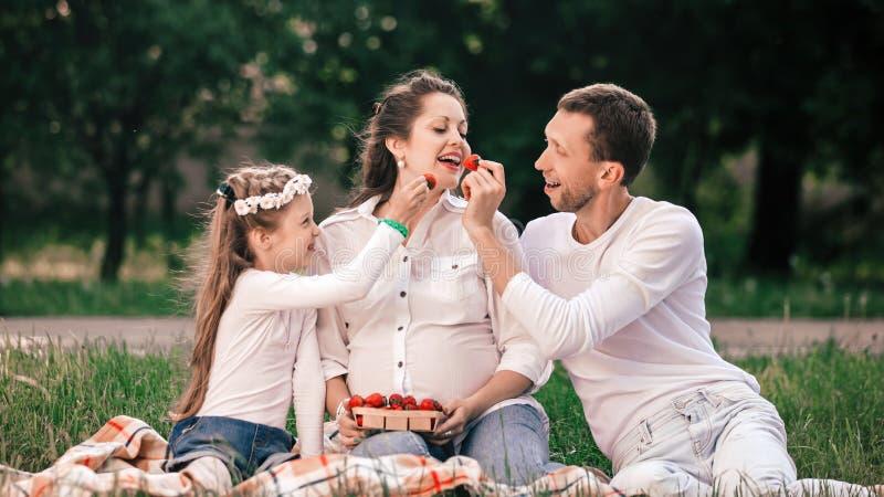 Szcz??liwy ojciec i c?rka karmimy mam truskawki na pinkinie zdjęcie royalty free