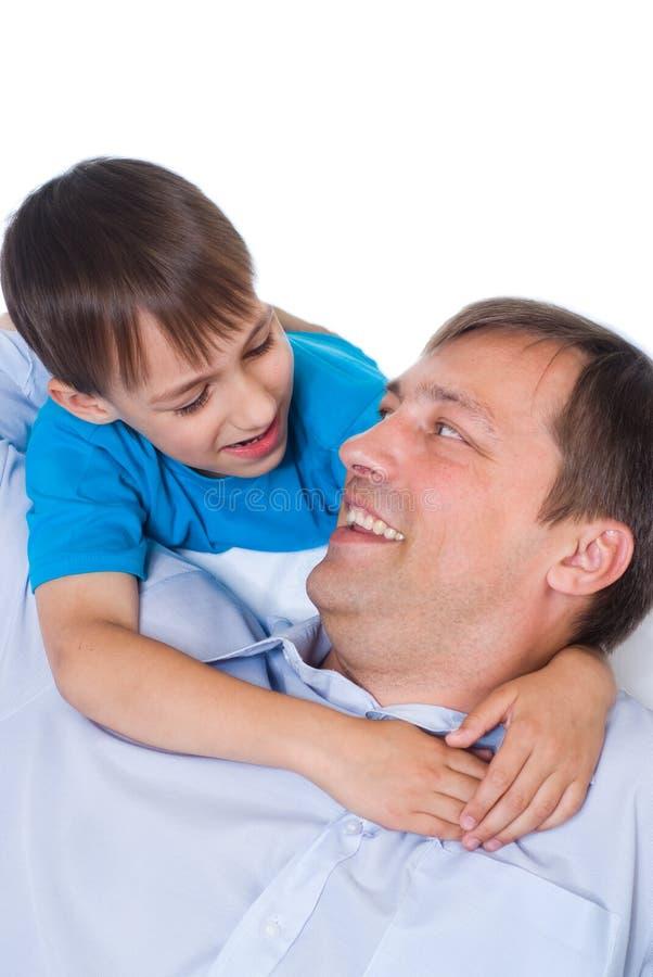 Szczęśliwy ojciec i syn zdjęcie stock