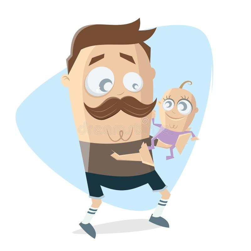 Szczęśliwy ojciec z jego nowonarodzonym dzieckiem royalty ilustracja