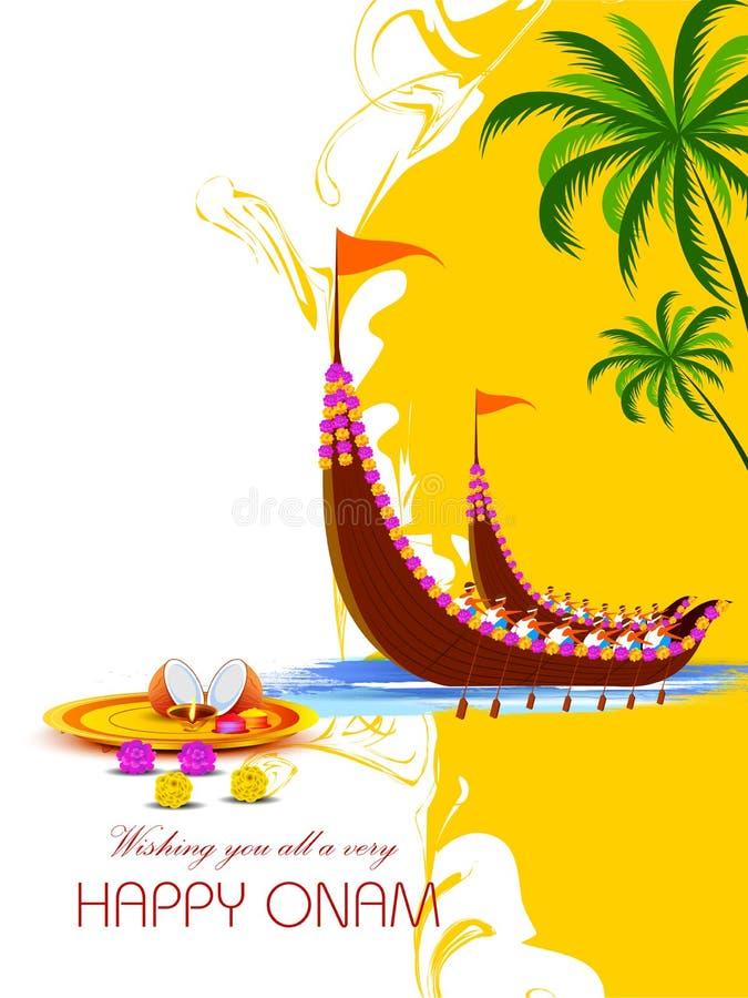 Szczęśliwy Onam tło dla festiwalu Południowy India Kerala royalty ilustracja