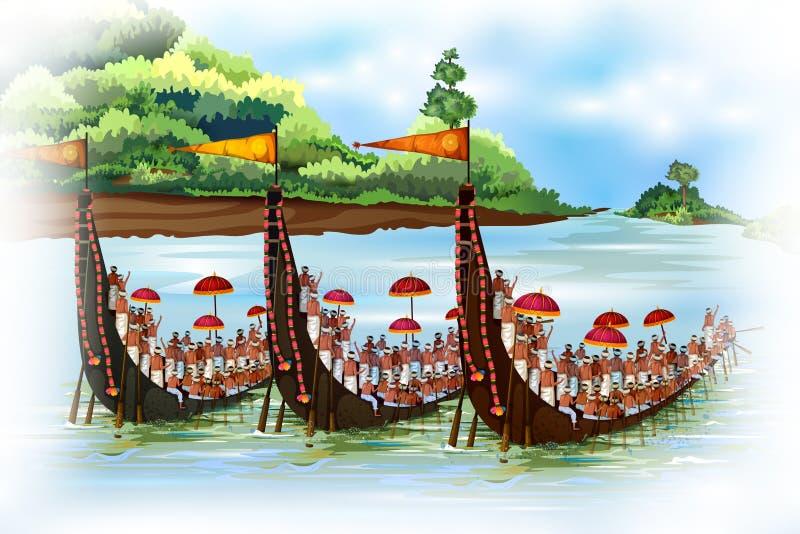 Szczęśliwy Onam wakacje dla Południowego India festiwalu tła ilustracja wektor