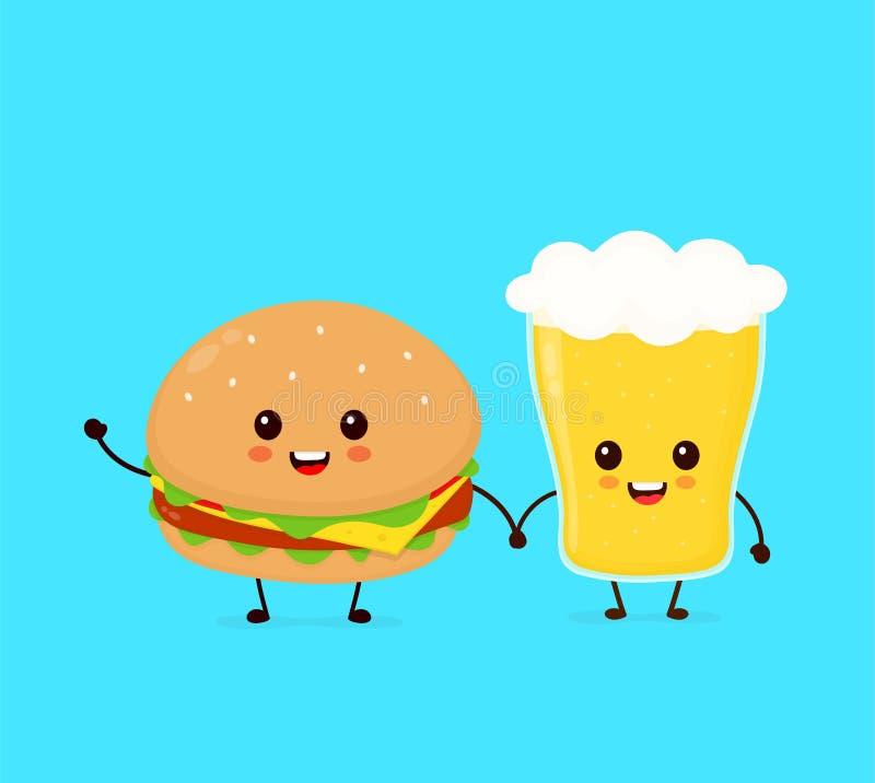 Szczęśliwy ono uśmiecha się śmieszny śliczny hamburger ilustracji