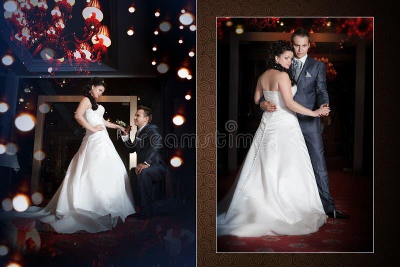 Szczęśliwy państwo młodzi na ślubnym spacerze w nowożytnej hotelowej sala obraz royalty free