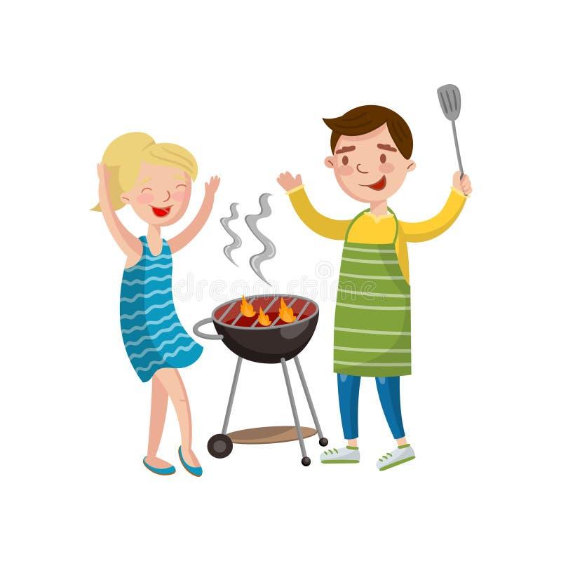 Szczęśliwy pary narządzania grill na grill kreskówki wektoru ilustraci royalty ilustracja