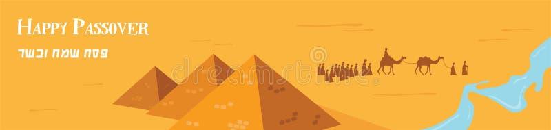 Szczęśliwy Passover w hebrajszczyźnie, Żydowski wakacyjny sztandaru szablon Grupa Ludzi z wielbłąd Karawanową jazdą w Realistyczn royalty ilustracja