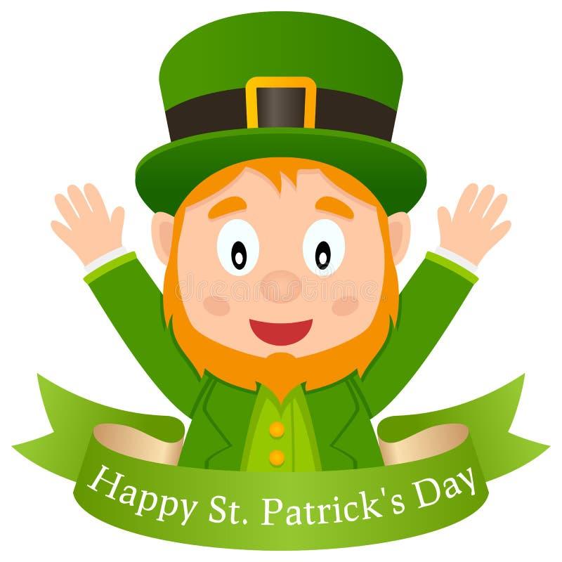 Szczęśliwy Patrick s dnia Leprechaun & faborek royalty ilustracja
