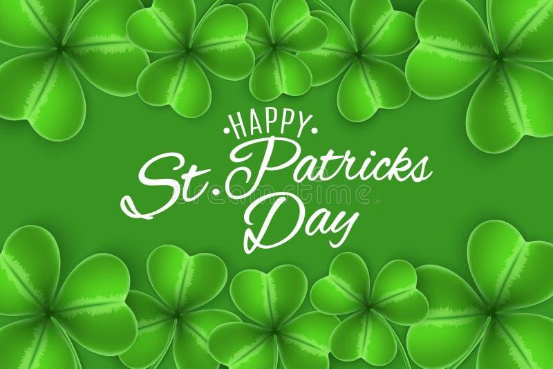 szczęśliwy patricks st dni Powitania zaproszenia karta Koniczyny shamrocks na zielonym tle Kaligraficzny dekoracyjny biały tekst  ilustracji