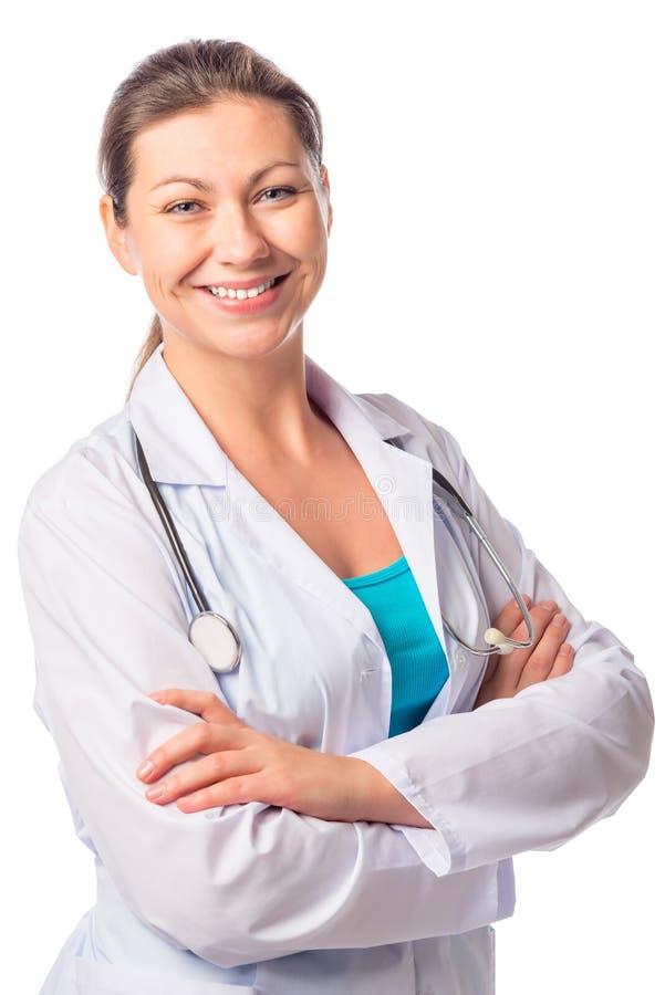 Szczęśliwy pewny on kobiety lekarka obraz stock