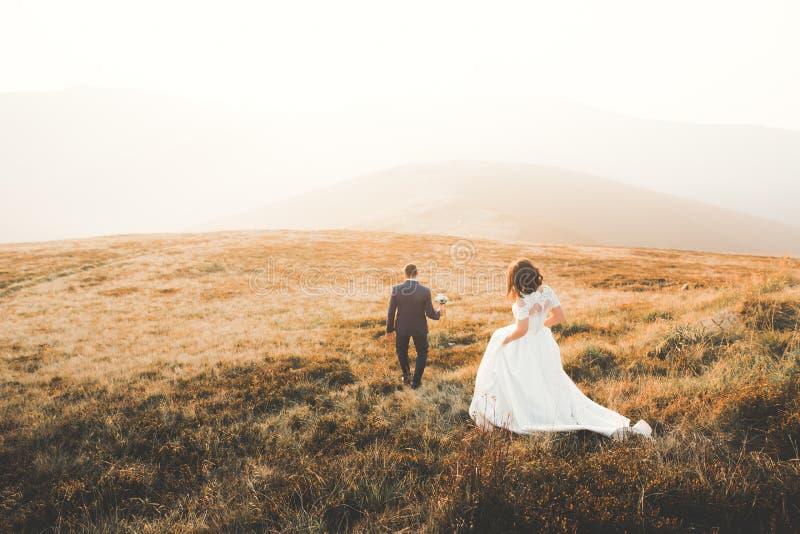 Szczęśliwy piękny ślub pary państwo młodzi przy dniem ślubu outdoors na górach kołysa Szczęśliwego małżeństwa para obrazy stock