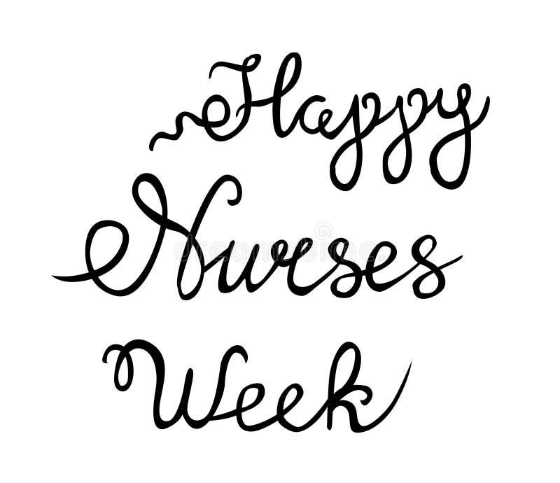 Szczęśliwy pielęgniarka tygodnia wektor, ręka pisał list szczęśliwego pielęgniarka tygodnia wektor ilustracji