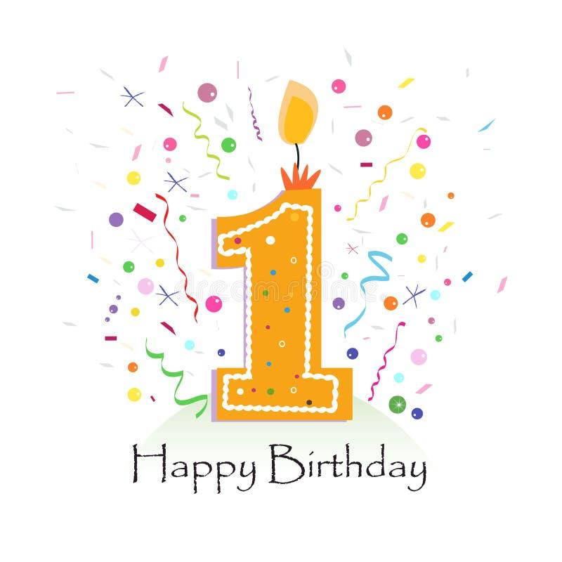 Szczęśliwy pierwszy urodzinowy świeczka wektor z kolorowym confetti i balonów wektorowym ilustracyjnym tłem ilustracji