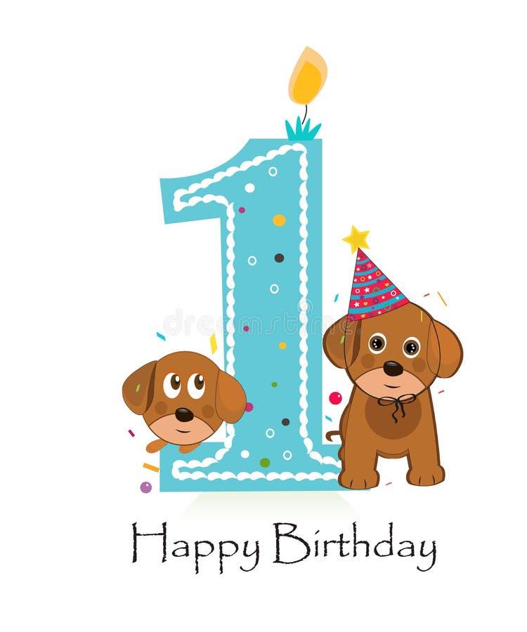Szczęśliwy pierwszy urodziny z ślicznym pies chłopiec kartka z pozdrowieniami ilustracja wektor