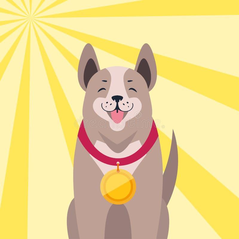 Szczęśliwy pies z medal kreskówki mieszkania wektorem ilustracja wektor