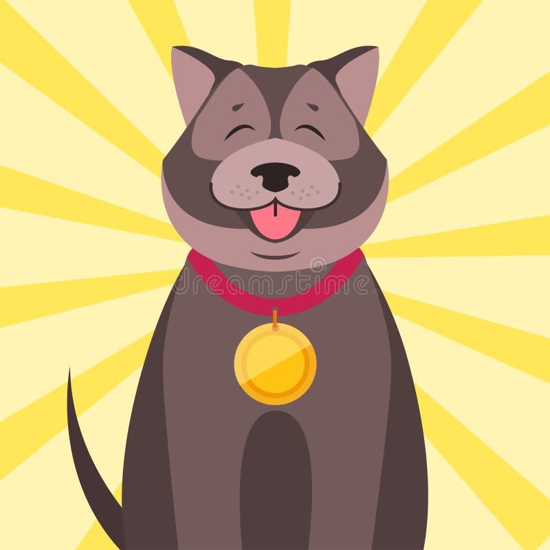 Szczęśliwy pies z medal kreskówki mieszkania wektorem royalty ilustracja