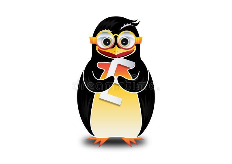 Szczęśliwy pingwinu łasowania logo royalty ilustracja