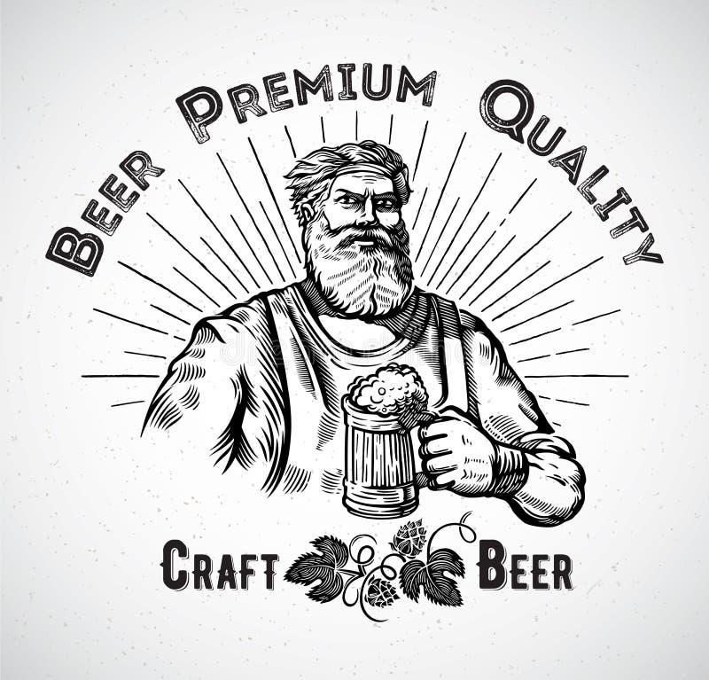 Szczęśliwy piwowar royalty ilustracja