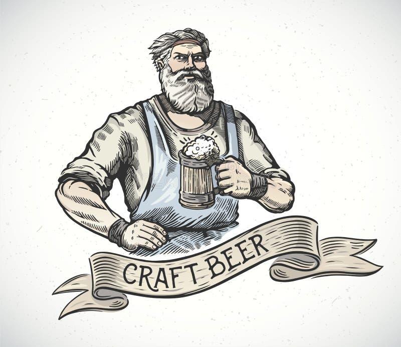 Szczęśliwy piwowar w rytownictwo stylu ilustracja wektor