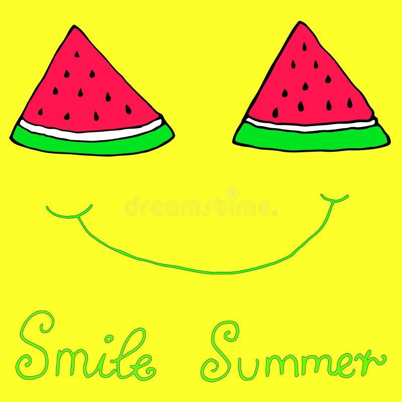 Szczęśliwy pokrojony plasterka arbuz, radosny uśmiech, odosobniony żółty b ilustracja wektor
