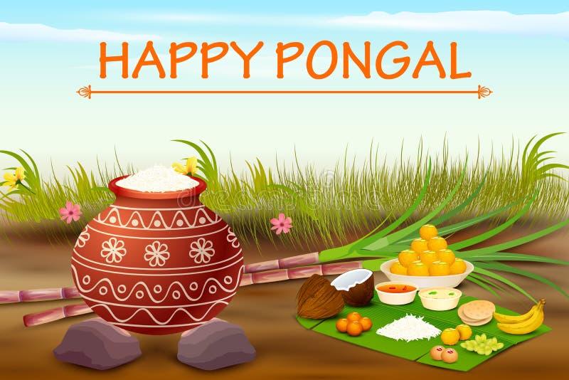 Szczęśliwy Pongal świętowania tło ilustracja wektor