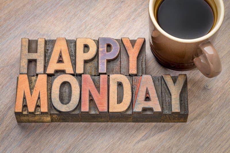 Szczęśliwy Poniedziałek w drewnianym typ zdjęcie stock