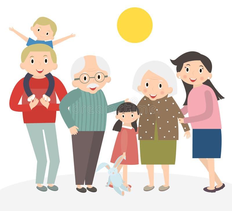 szczęśliwy portret rodzinny Ojciec i matka, syn i córka, dziadkowie w jeden obrazku wpólnie ilustracja wektor
