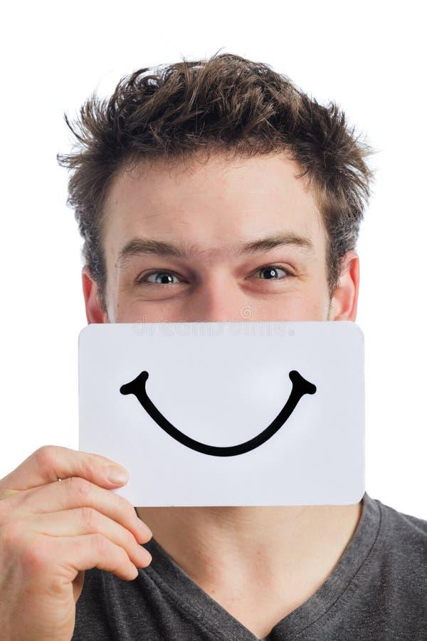 Szczęśliwy portret Someone Trzyma Uśmiechniętą nastrój deskę zdjęcie royalty free