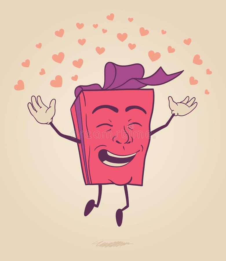 Szczęśliwy postać z kreskówki valentines prezenta pudełko ilustracji