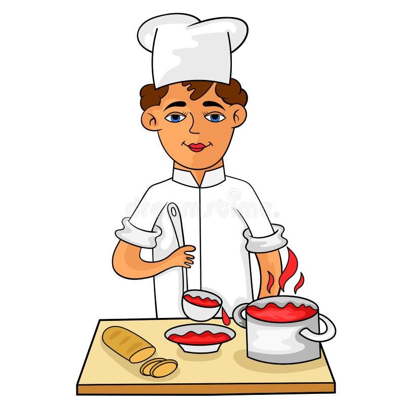 Szczęśliwy potomstwo kucharz nalewa gorącą polewkę w pucharze royalty ilustracja