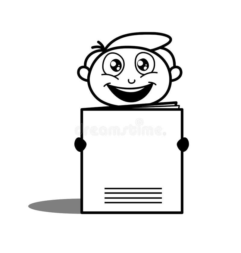Szczęśliwy pracownik Trzyma kartoteki książkę ilustracji