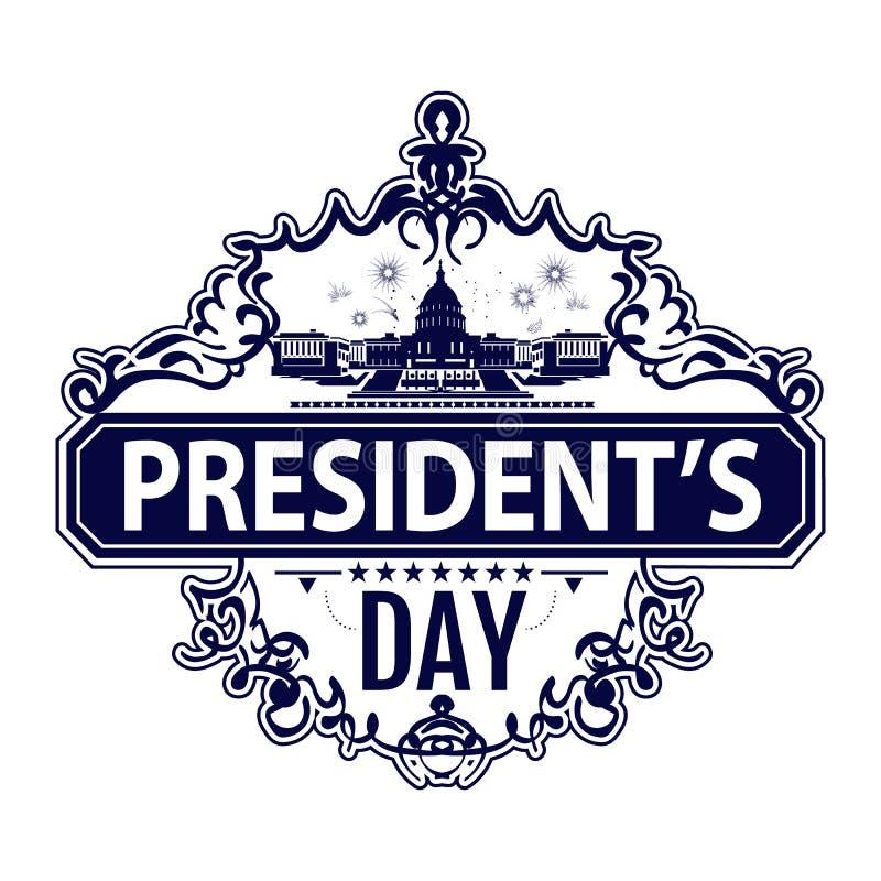 Szczęśliwy prezydenta dnia znaczek z bielu domem w wektorze royalty ilustracja