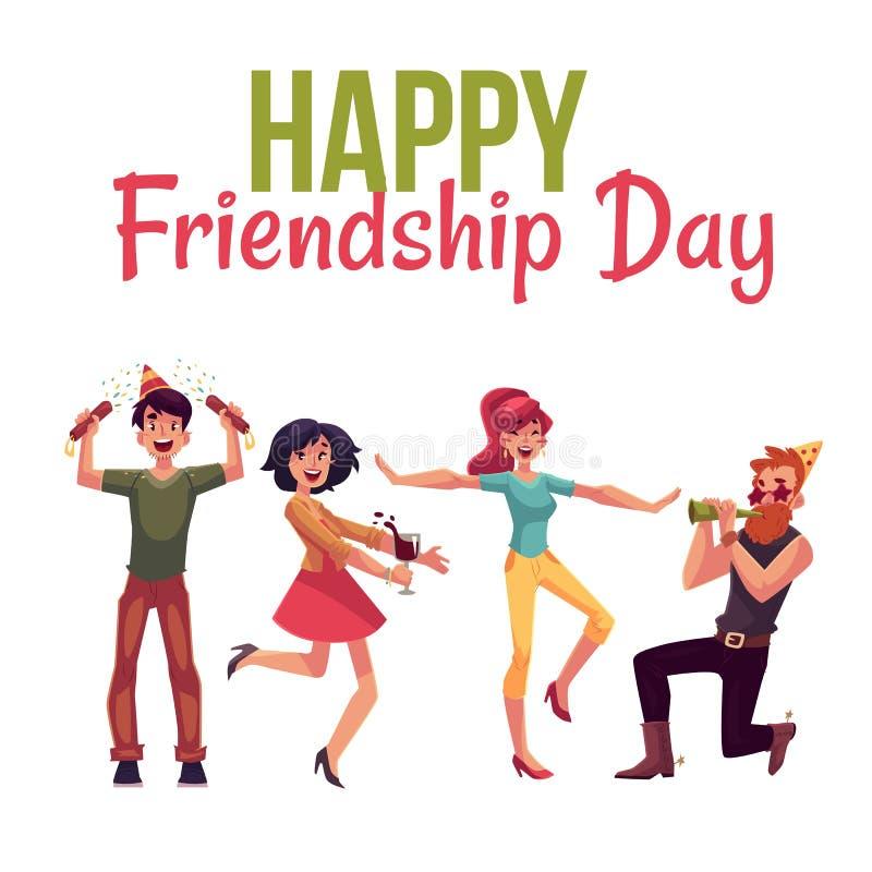 Szczęśliwy przyjaźń dnia kartka z pozdrowieniami ilustracja wektor