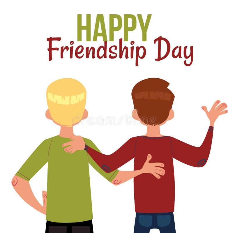 Szczęśliwy przyjaźń dnia kartka z pozdrowieniami, tylny widok dwa przyjaciela ilustracji