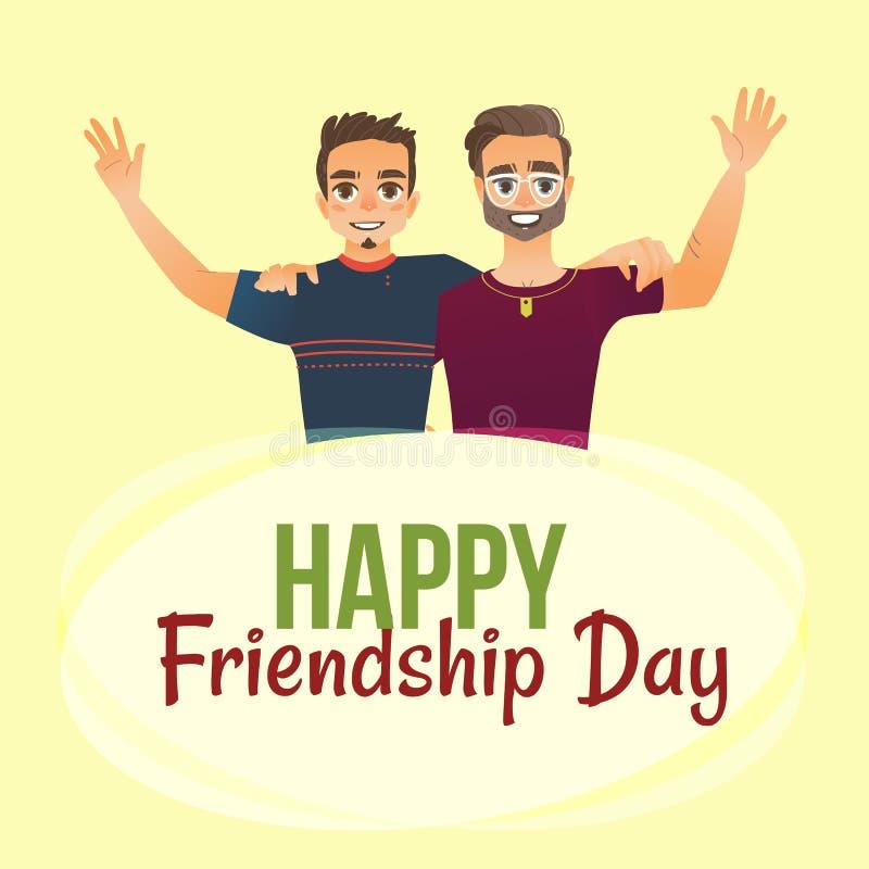 Szczęśliwy przyjaźń dnia kartka z pozdrowieniami z dwa mężczyzna, przyjaciół ściskać ilustracji