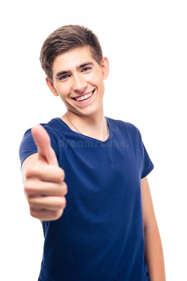 Szczęśliwy przypadkowy mężczyzna pokazuje kciuk up zdjęcie stock