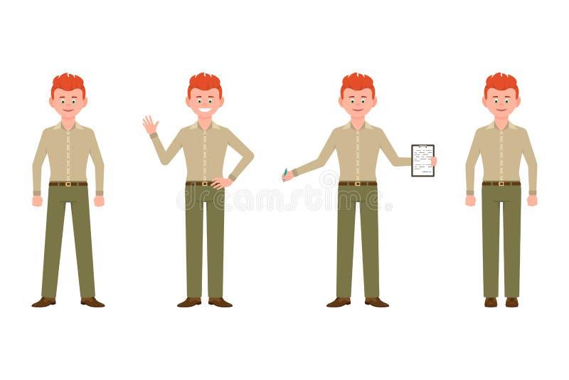 Szczęśliwy, przystojny, życzliwy czerwony włosiany urzędnika mężczyzna w spodniach wektorowych, Frontowego widoku pozycja, falowa ilustracji