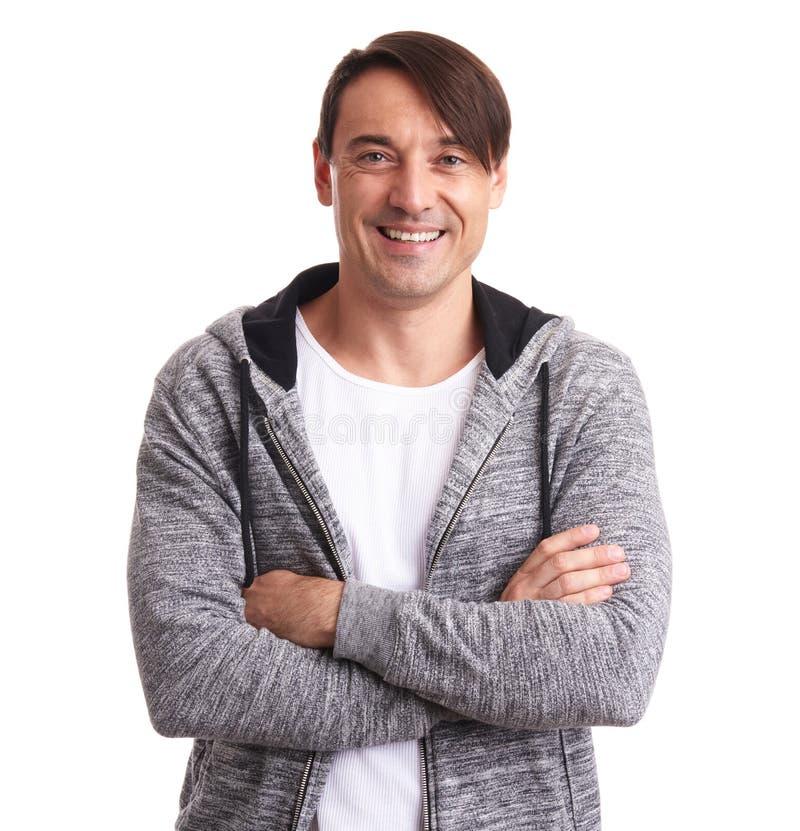 Szczęśliwy przystojny mężczyzna w sport kurtce fotografia stock