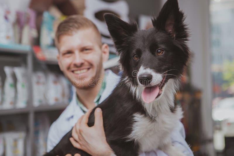 Szczęśliwy przystojny męski weterynarz cieszy się pracować z jego psim pacjentem zdjęcia royalty free