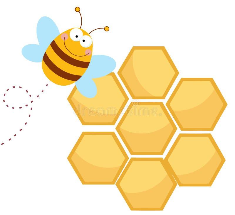 szczęśliwy pszczoły honeycomb ilustracji