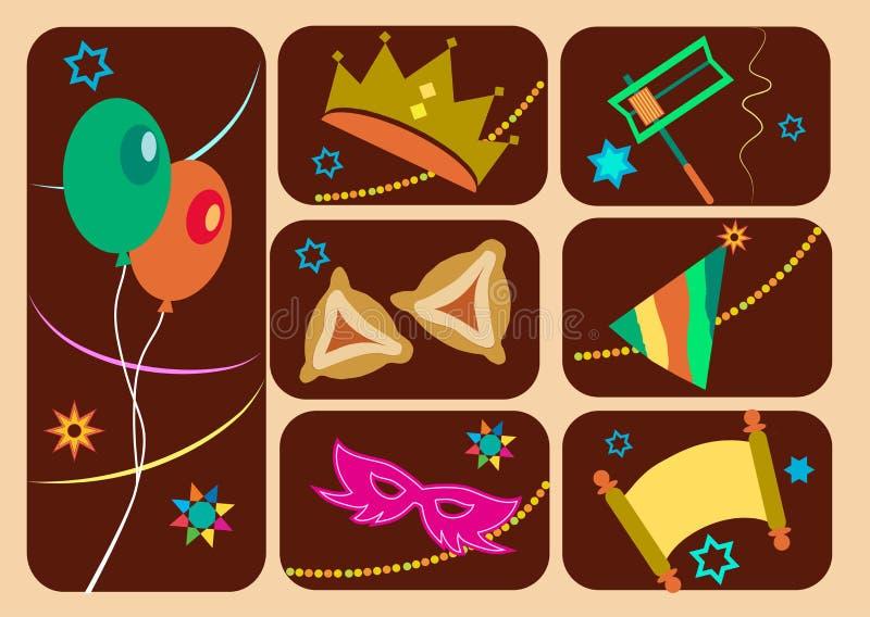 Szczęśliwy purim, żydowski wakacje ilustracji