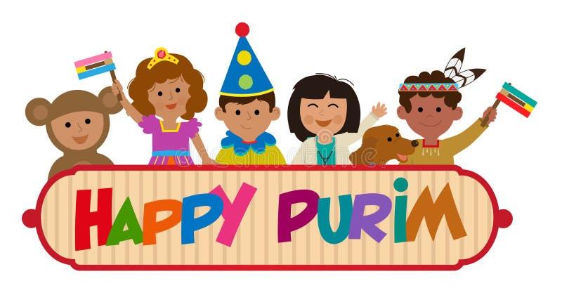 Szczęśliwy Purim dzieciaków znak ilustracji