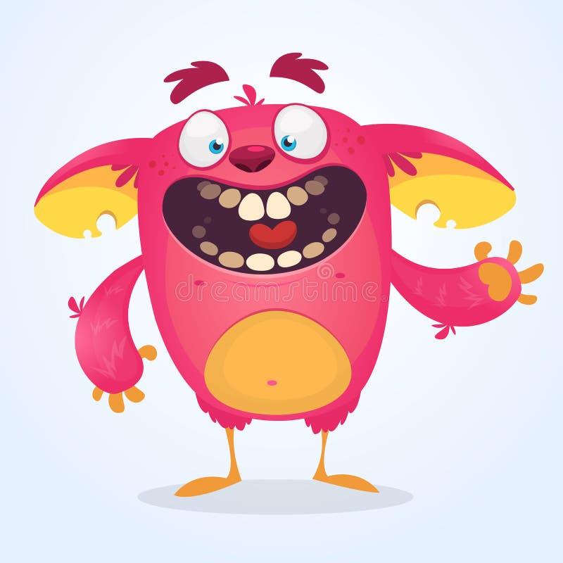 Szczęśliwy różowy kreskówka potwora falowanie Wektorowa błyszczka lub gremlin charakter Halloweenowy projekt ilustracja wektor