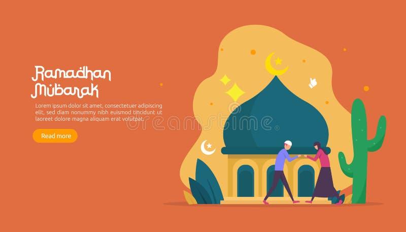 szczęśliwy Ramadan Mubarak powitania pojęcie z ludźmi charakteru dla sieci lądowania strony szablonu, sztandar, prezentacja, socj ilustracja wektor