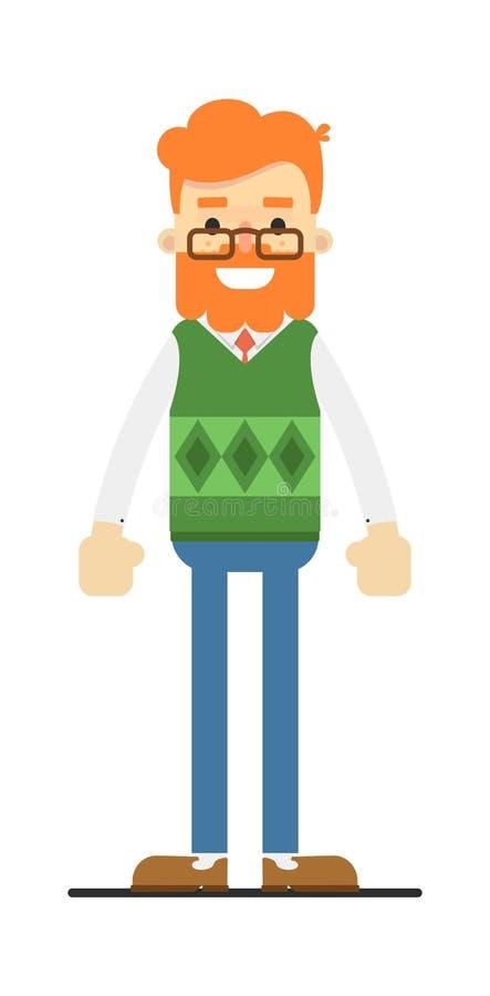 Szczęśliwy redheaded brodaty modnisia charakter royalty ilustracja